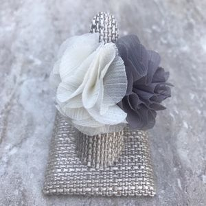 Ivory Grey Chiffon Fabric Ring Silver Stretch Band